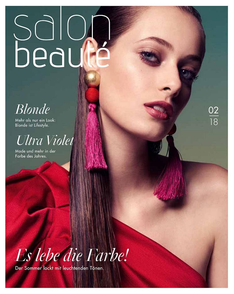 Titelseite des Magazins Ausgabe 2/2018 . Frau mit langen Haaren und rotem Oberteil