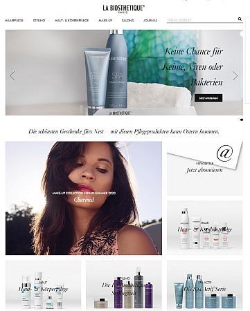 Bildschirmfoto der Startseite des La Biosthetique-Onlineshops