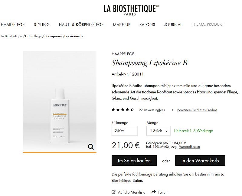 Bildschirmfoto des La Biosthetique-Onlineshops - Shampoo Detailseite
