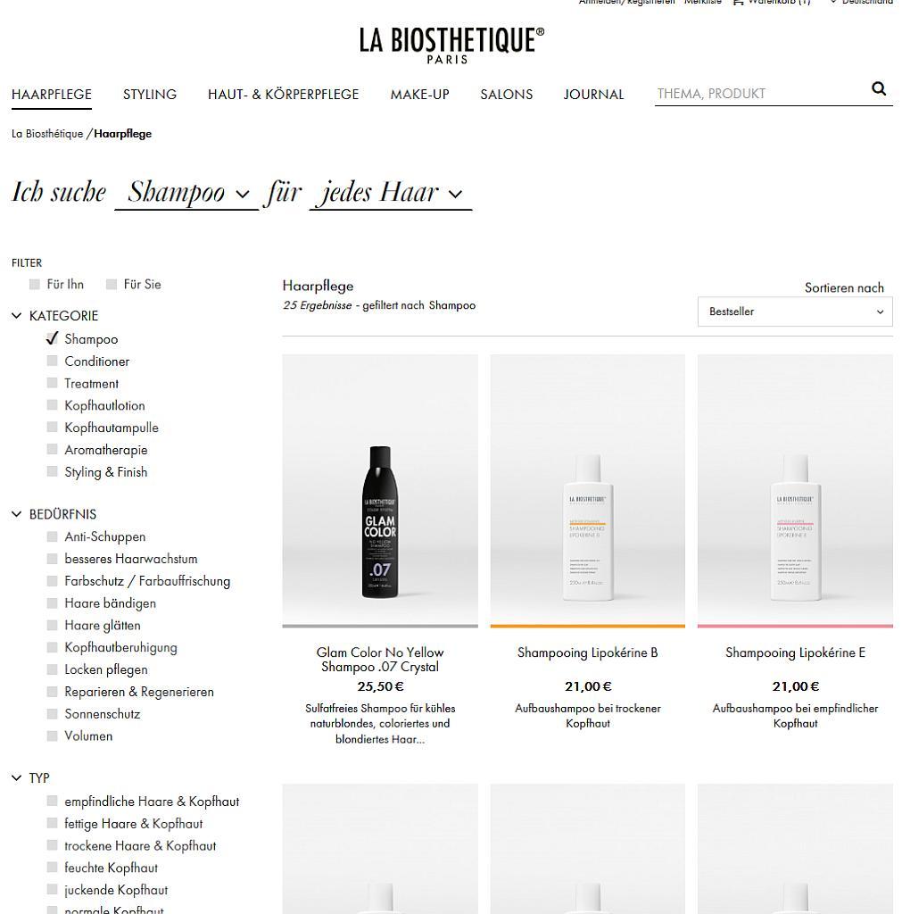 Bildschirmfoto des La Biosthetique-Onlineshops - Shampoos