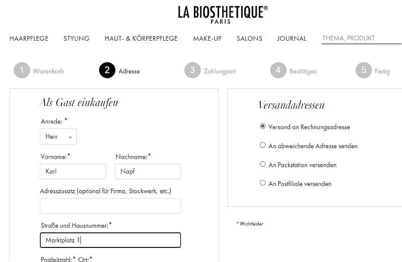 Bildschirmfoto des La Biosthetique-Onlineshops - Versandmöglichkeiten