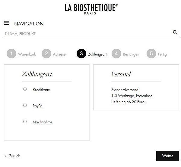 Bildschirmfoto des La Biosthetique-Onlineshops - Zahlungsarten