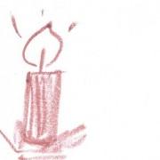Adventskerze gezeichnet auf weißem Papier mit einem roten Lippenstift