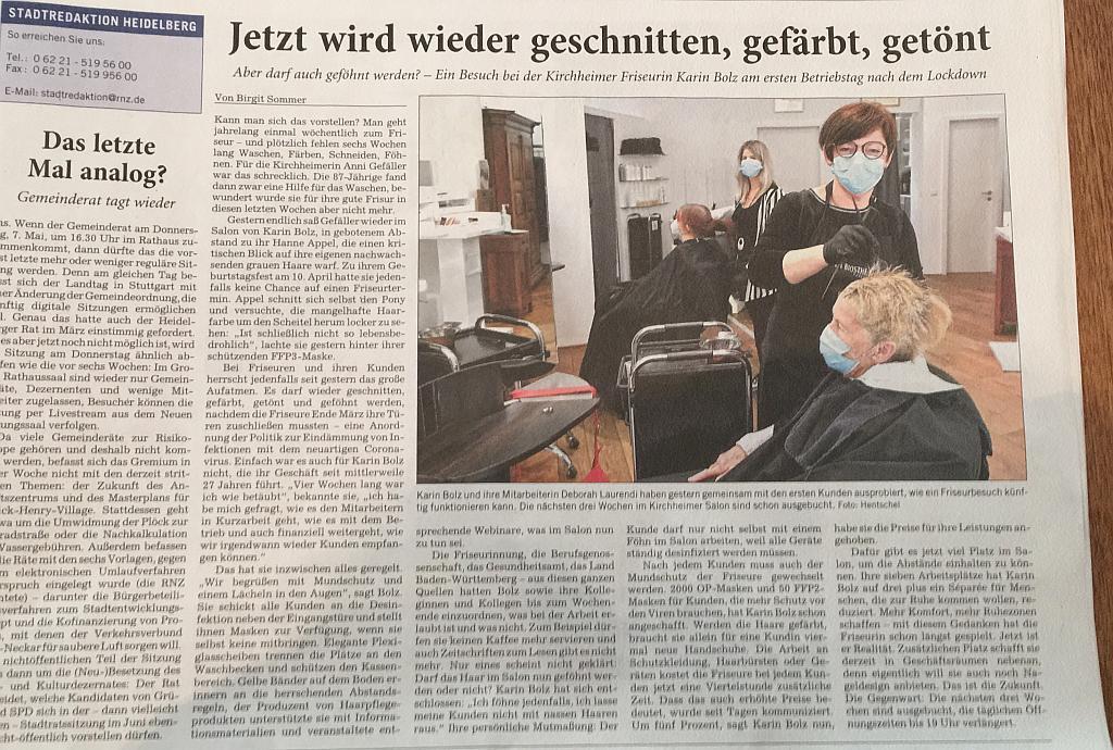 Zeitunsartikel vom 5. Mai, Seite 3 in der Rhein-Neckar-Zeitung, Titel: jetzt wird wieder geschnitten, gefärbt, getönt